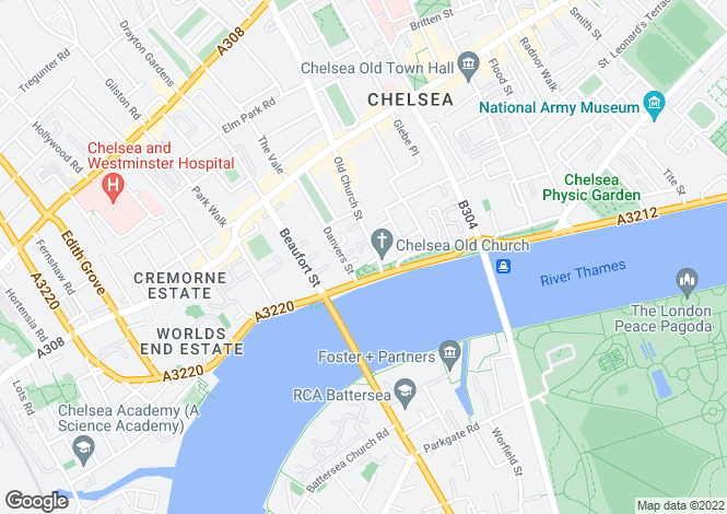 Map for Petyt Place, Cheyne Walk, London