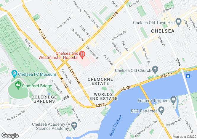 Map for Hobury Street, Chelsea, London, SW10