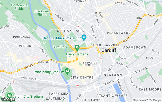 Map for GVA, Cardiff
