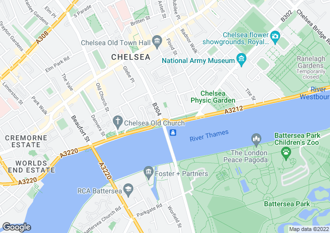 Map for Cheyne Walk, London, SW3