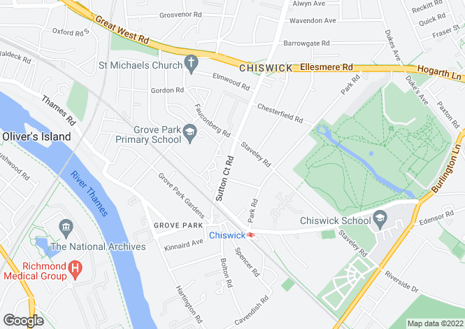 Map for Sutton Court Road, Chiswick, London, W4