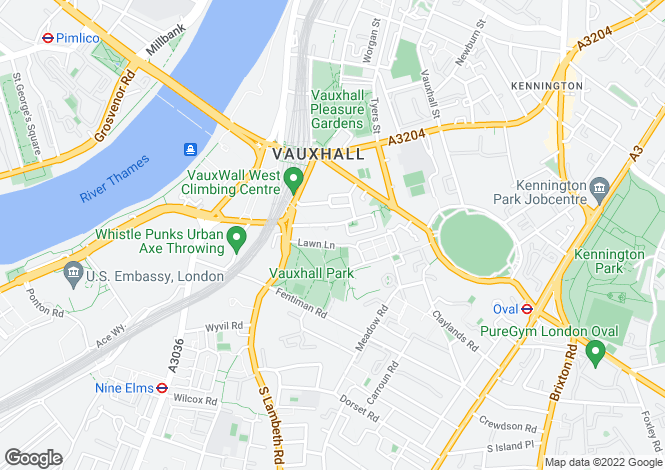 Map for Lawn Lane, Vauxhall