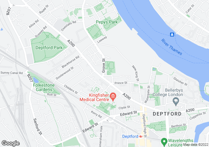 Map for Grove Street, Deptford