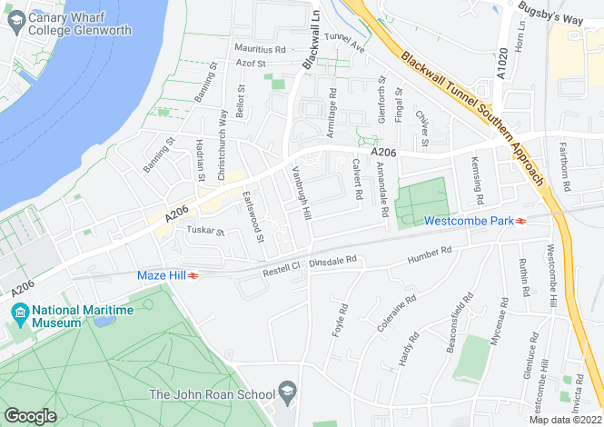 Map for Vanbrugh Hill, Greenwich, SE10 9HB