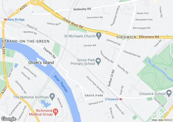 Map for St Marys Grove, Chiswick, London, W4 3LW