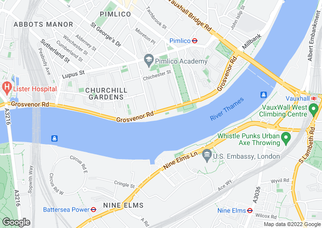 Map for Grosvenor Road, Pimlico, London SW1V