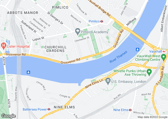 Map for Grosvenor Road, Pimlico, SW1V