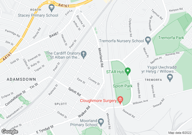 Map for Habershon Street, Splott, Splott, Cardiff