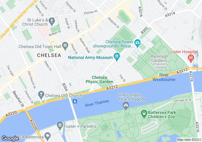 Map for Cheyne Place, Chelsea SW3
