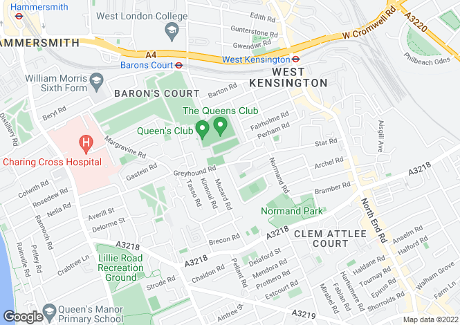 Map for Greyhound Road, London, W14