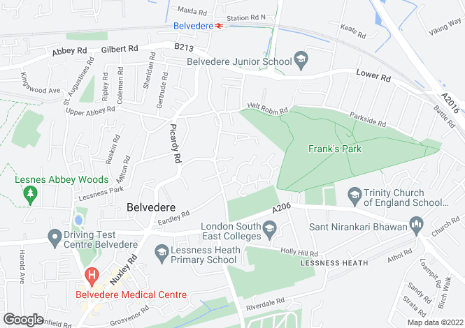 Map for Heathdene Drive, BELVEDERE, Kent