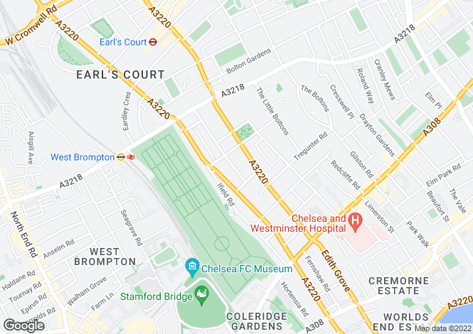 Map for Westgate Terrace, South Kensington