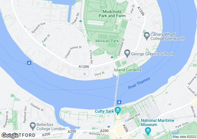 Map for Ferry Street Canary Wharf E14