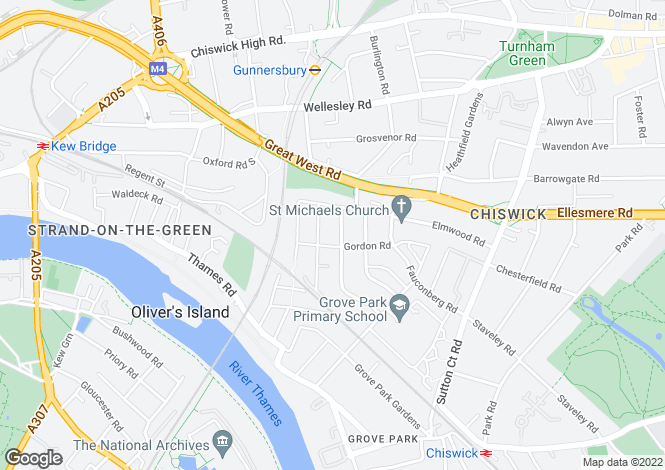Map for St Marys Grove, Chiswick
