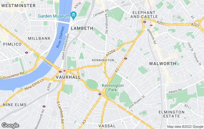 Map for Daniel Cobb, Kennington