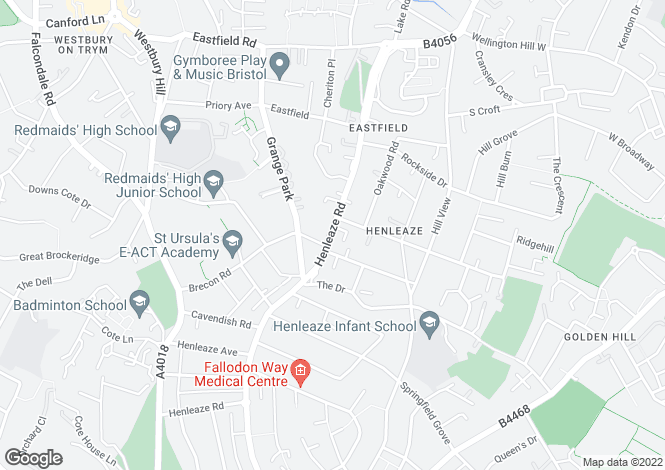 Map for Henleaze Road, Henleaze, Bristol