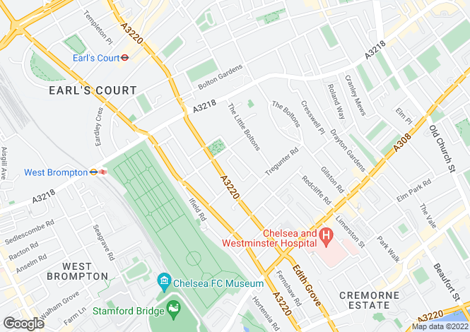 Map for Harcourt Terrace, Chelsea