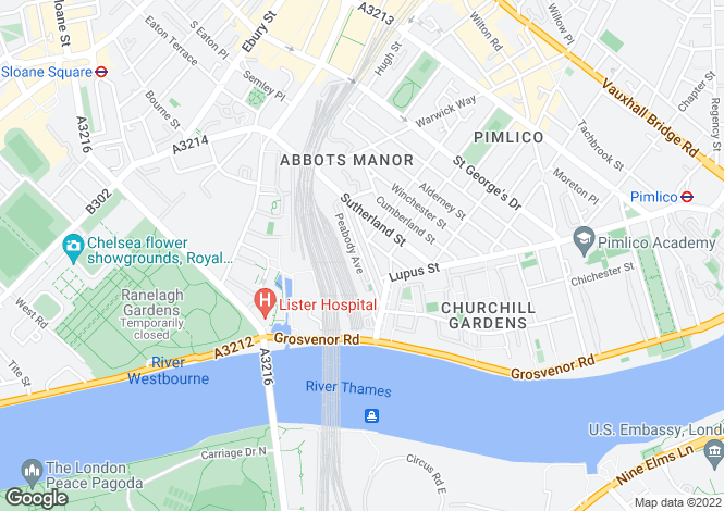 Map for Westmoreland Terrace, Pimlico, London, SW1V