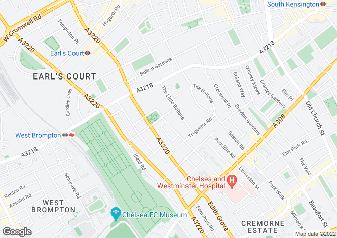 Map for Redcliffe Square, Chelsea, London, SW10