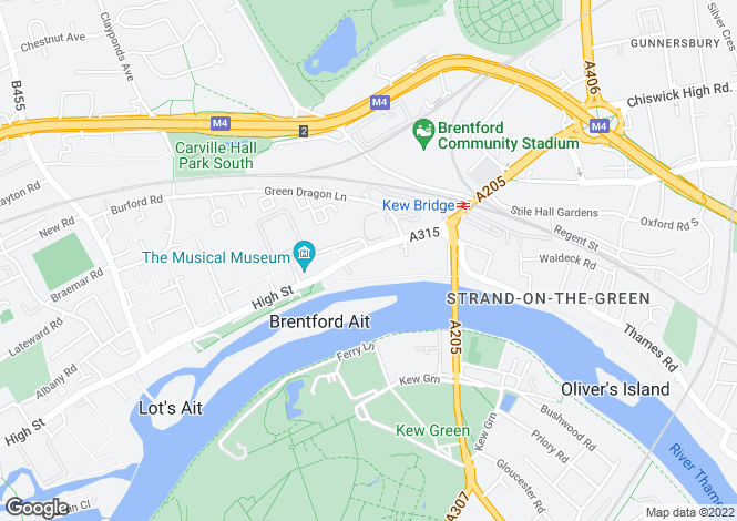Map for Kew Bridge Road, TW8