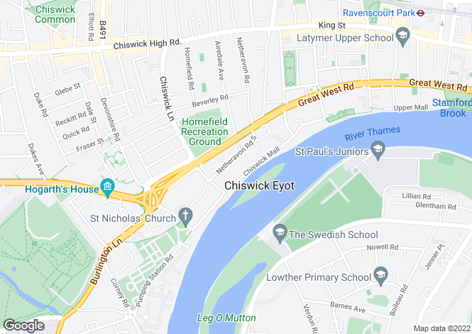 Map for Eyot Green, Chiswick, London, W4