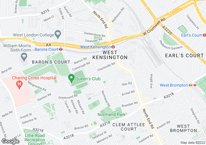 Map for Modern split level studio flat with free internet, sky tv close to Chelsea Football Grounds, Queens Tennis Club, LAMDA