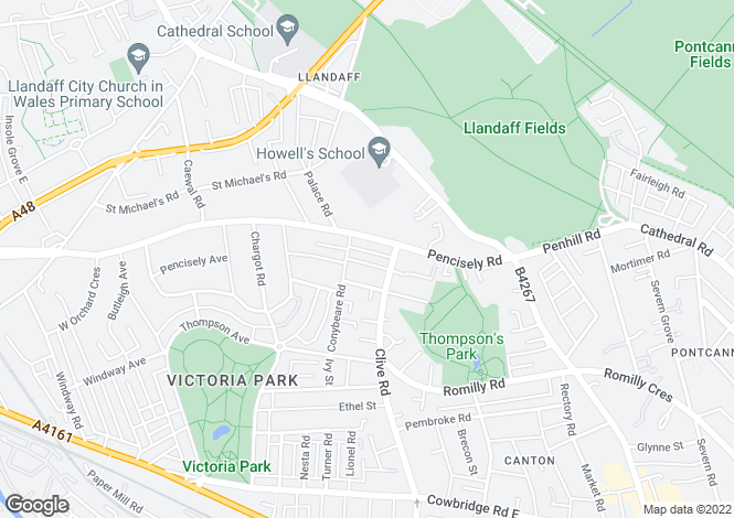 Map for Burlington Terrace, Victoria Park