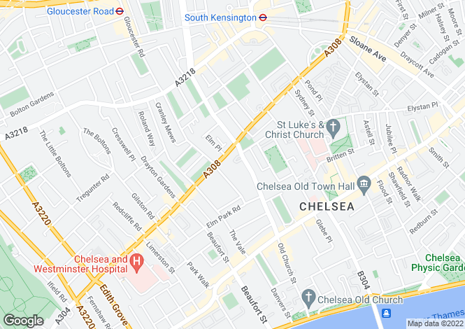 Map for Queens Elm Square, Chelsea, SW3