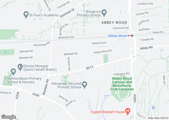 Map for Bostall Lane, Abbey Wood, London, SE2