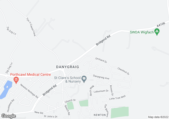 Map for Elder Drive, Danygraig, Porthcawl, Mid Glamorgan