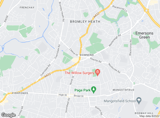 Map for Besley Hill, Downend