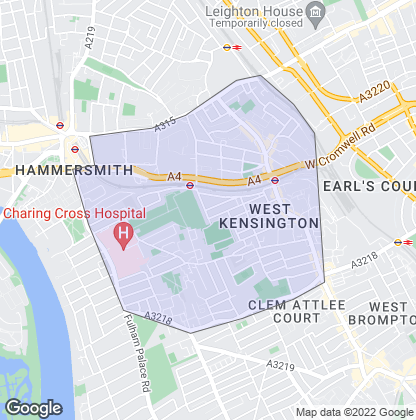 Map of property in Barons Court
