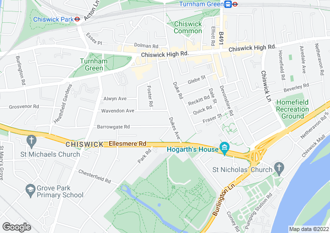 Map for Dukes Avenue, Chiswick