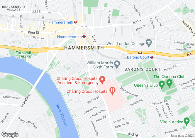 Map for Yeldham Road, Hammersmith, London