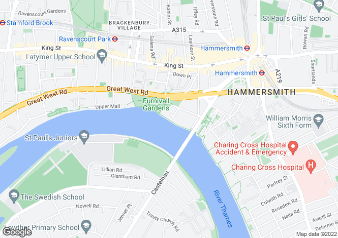 Map for Lower Mall, Hammersmith, London, W6