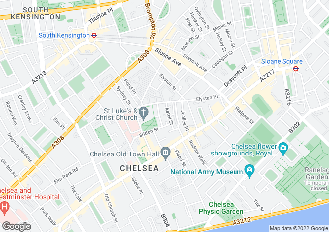 Map for Astell Street, Chelsea, London