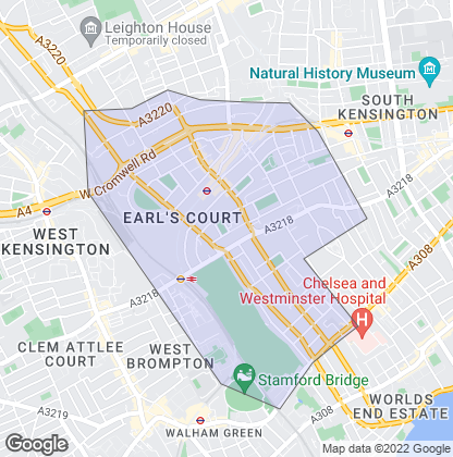 Map of property in Earls Court