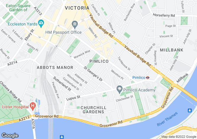 Map for Webster House, Gloucester Street, SW1V