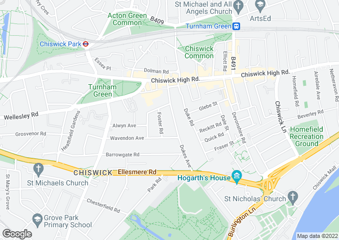 Map for Dukes Avenue, Chiswick, London, W4