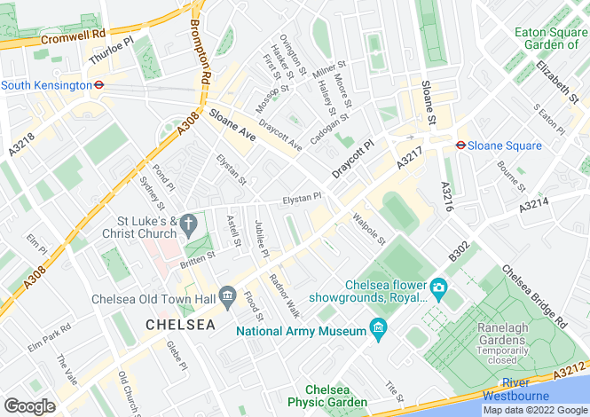 Map for Markham Place, Chelsea, SW3