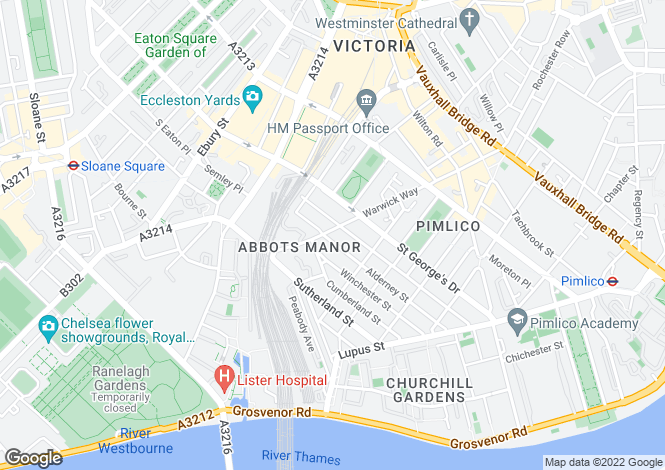 Map for Warwick Way, Pimlico, London, SW1V
