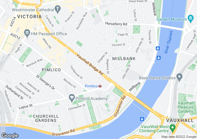 Map for Vauxhall Bridge Road, London SW1V