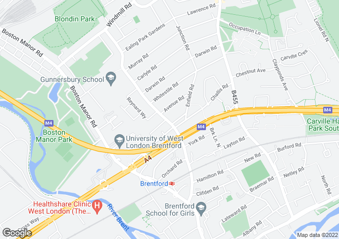 Map for Windmill Road,Brentford