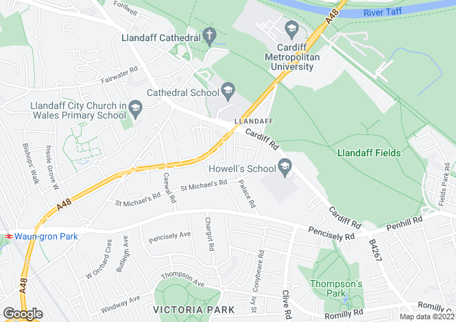 Map for Palace Road, Llandaff, Cardiff