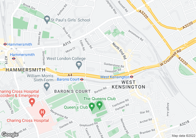 Map for Glazbury Road, West Kensington, W14