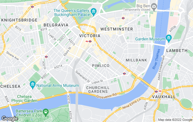 Map for Hamptons International Lettings, Pimlico & Westminister