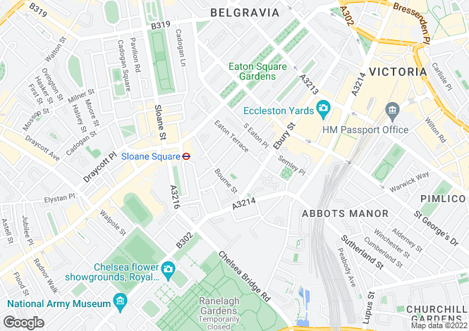 Map for Belgravia, London, SW1W