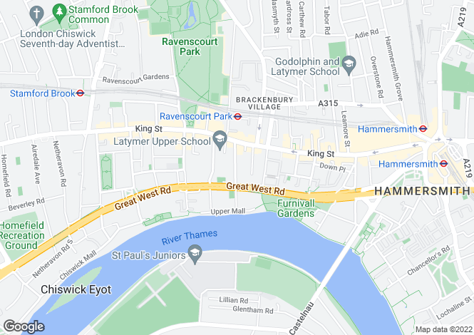 Map for Rivercourt Road, Ravenscourt Park