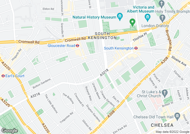 Map for Clareville Grove, South Kensington, London