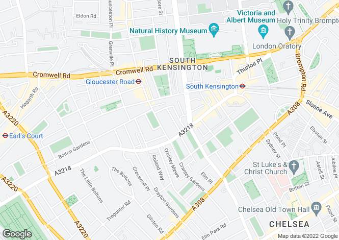 Map for Clareville Grove, South Kensington, London, SW7